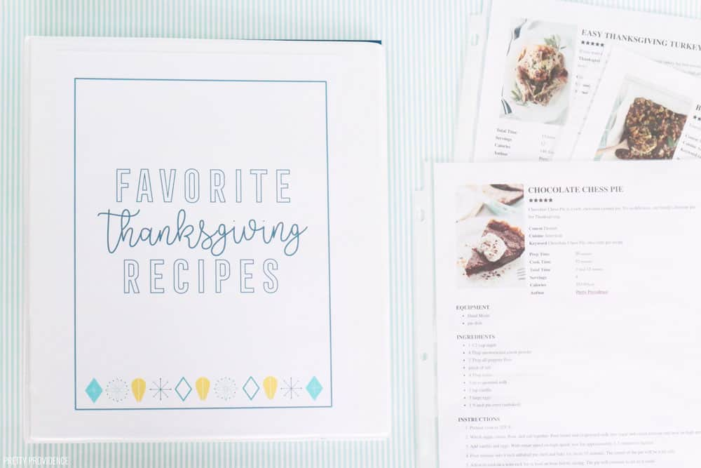 Thanksgiving planner printables - Thanksgiving menu, favorite recipes binder, and more.