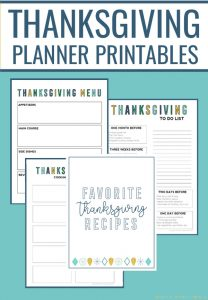 Thanksgiving planner printables collage