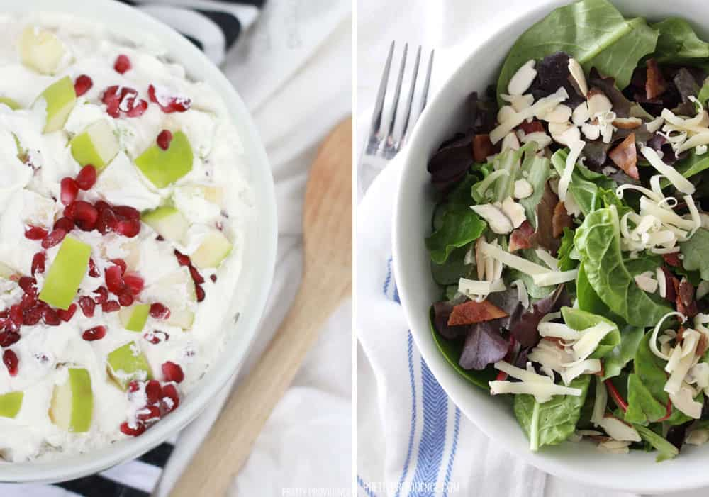 Thanksgiving Salads - left: pomegranate apple salad. Right: green salad with almonds, cranberries, swiss, and bacon.