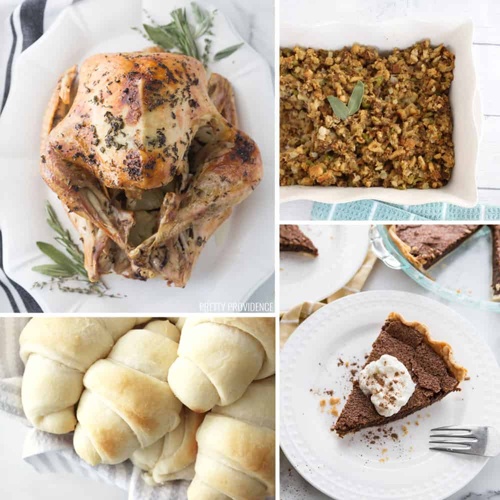 Traditional Thanksgiving Menu collage. Top left - Turkey top right- stuffing, bottom left - rolls bottom right - pie.