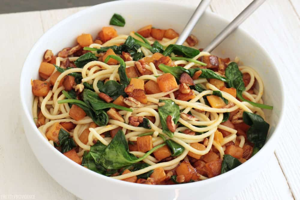 Browned butter pasta with butternut squash, spinach and pecans.