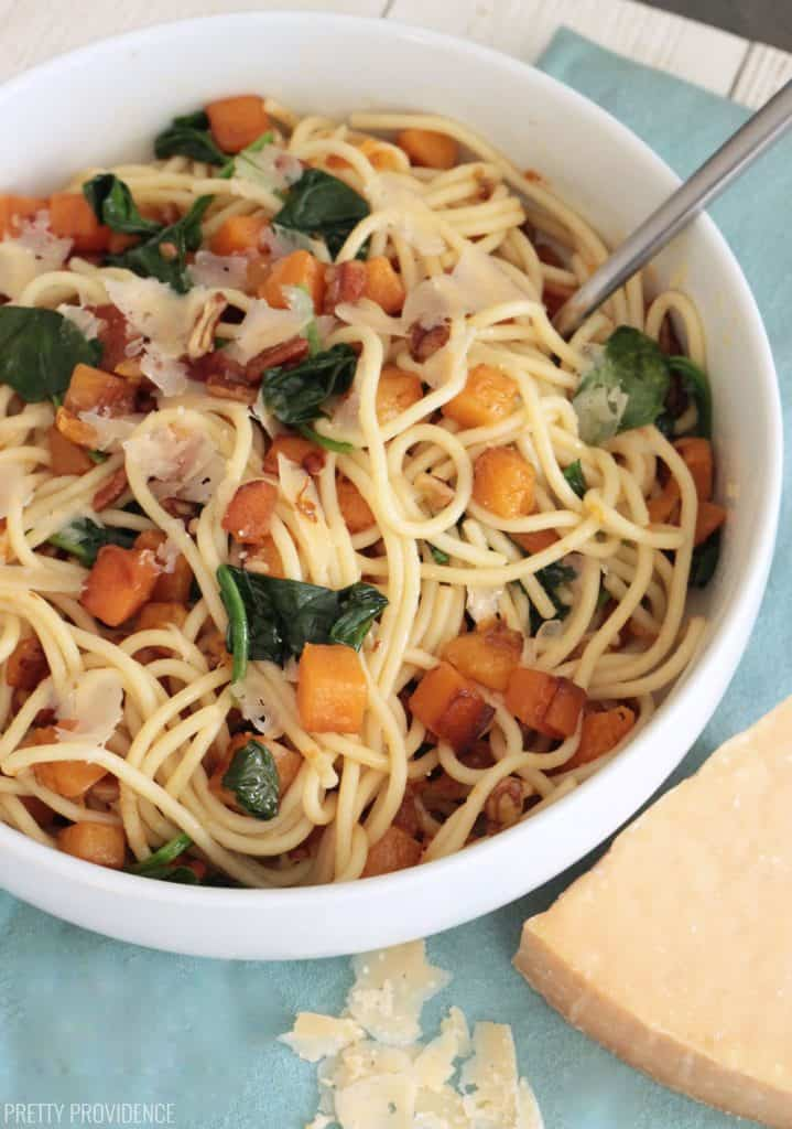 Browned Butter Pasta with Butternut Squash, Spinach, Pecans and fresh shaved parmesan cheese.
