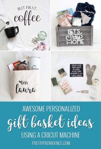 collage image of four different diy gift basket ideas optimized for pinterest