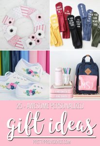 collage image of four personalized gift ideas, a wreath, socks, shoes, and school supplies all personalized