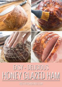 step by step photo collage of making a honey baked ham, optimized for pinterest