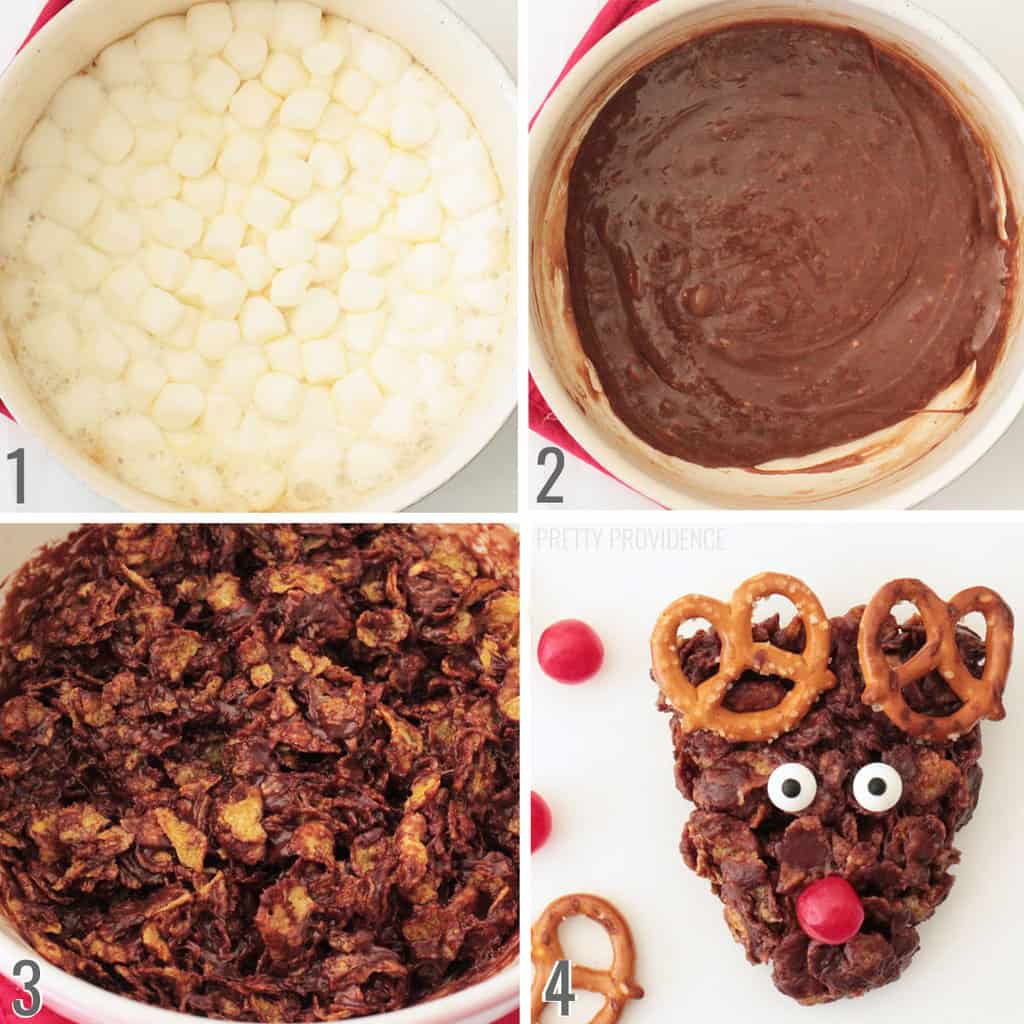 Collage photo 1: melted marshmallow in a saucepan, photo 2: chocolate and marshmallow melted together. photo 3: cornflakes mixed with melted chocolate marshmallow. Photo 4: reindeer cookie made of cornflakes, marshmallow, pretzels, cherry sours and candy eyeballs.