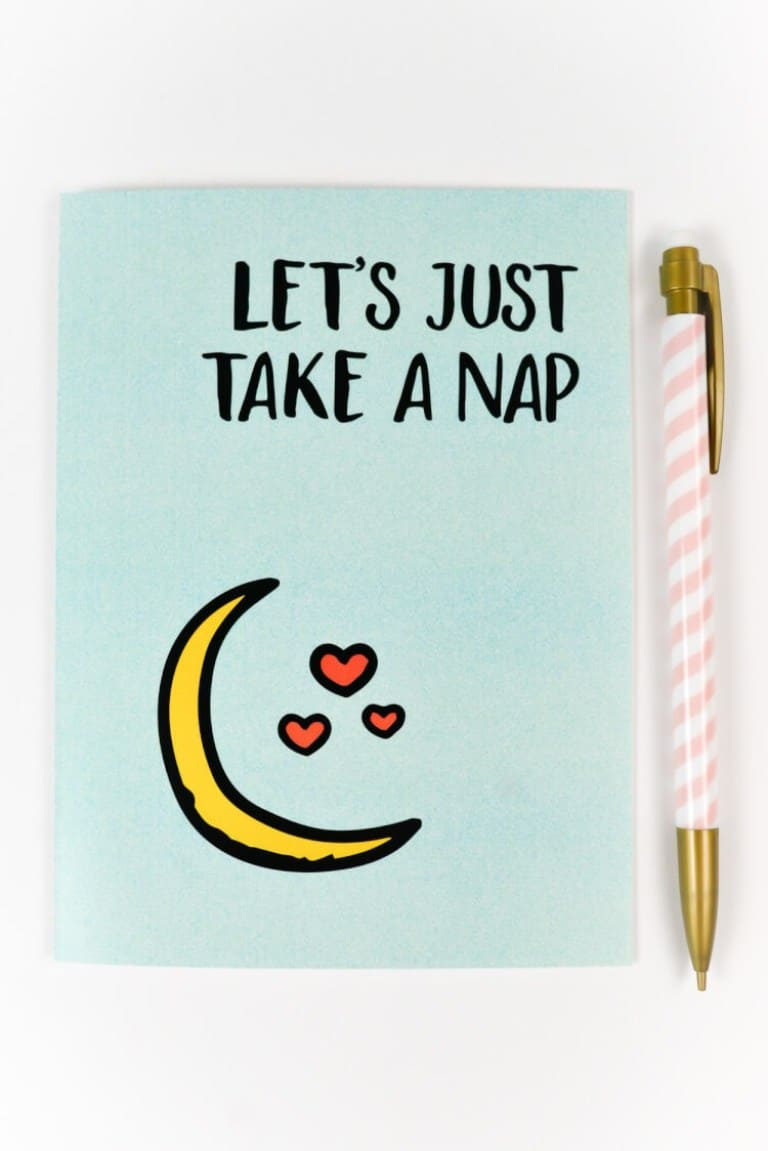 'Let's Just Take a Nap' Valentine card, light blue with a moon and hearts on it from Hey Let's Make Stuff