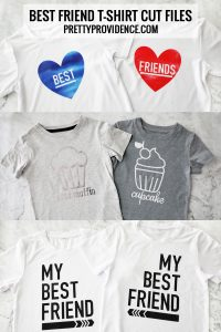three different styles of best friends t shirts on white and grey granite countertop