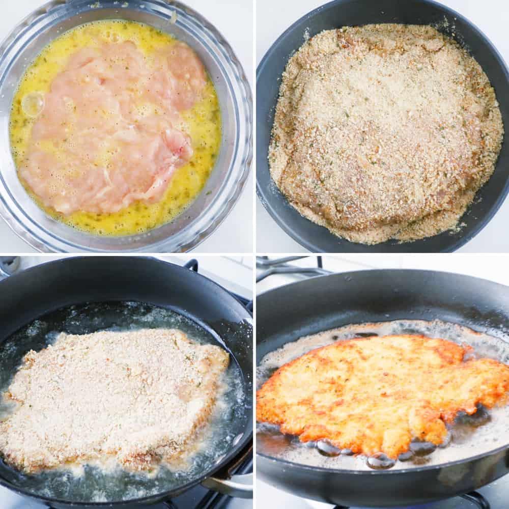 chicken in egg wash, chicken in bread crumbs, chicken in hot oil, chicken schnitzel