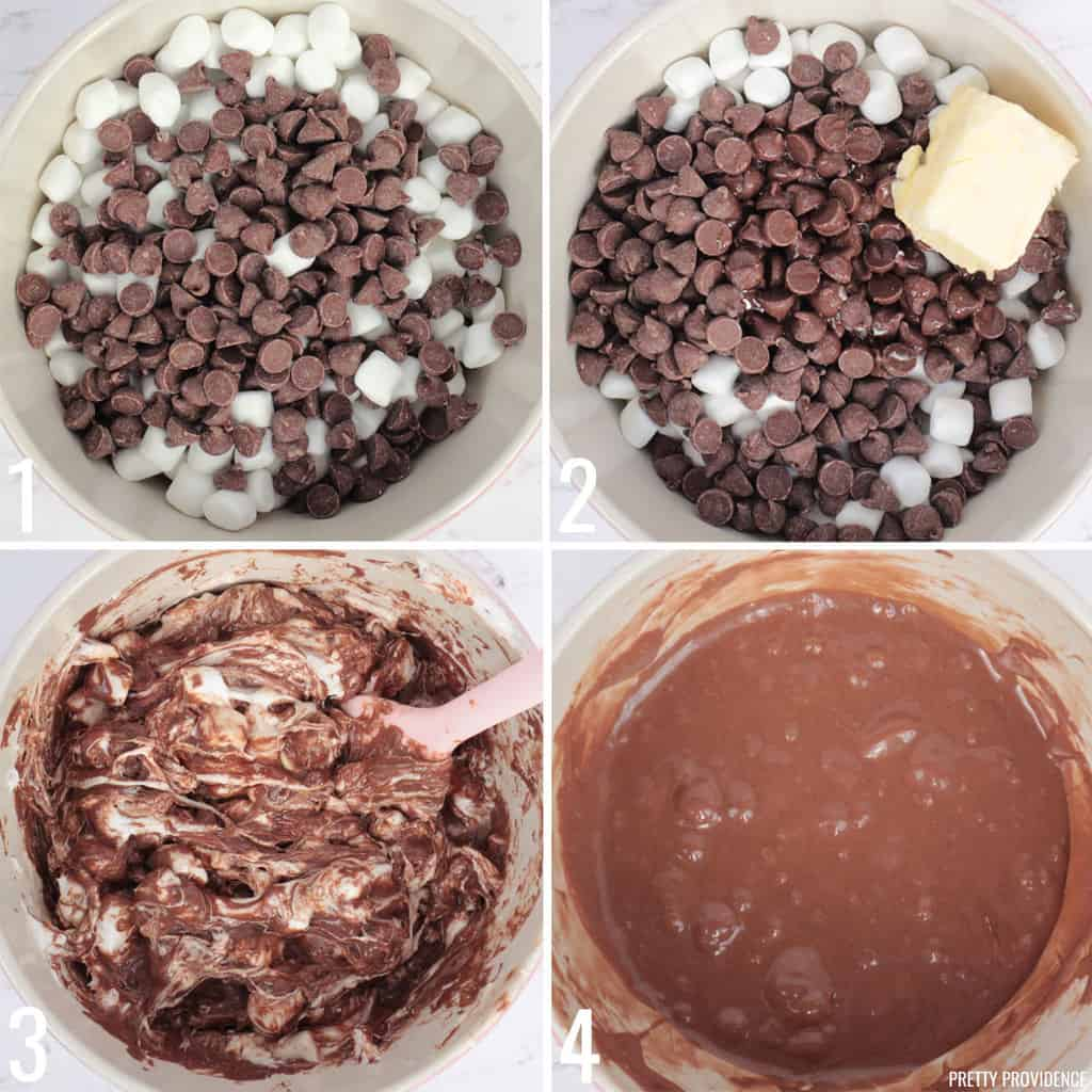 Collage of chocolate chips and marshmallows being melted in a mixing bowl, making S'mores bars with golden grahams
