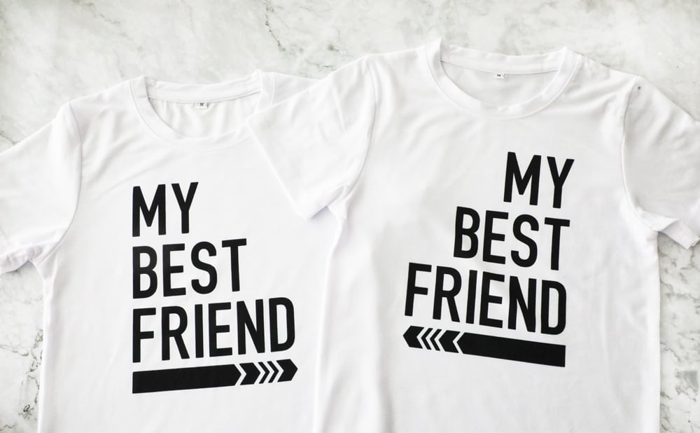 "two white t shirts that say ""my best friend"" with an arrow pointing at each other"