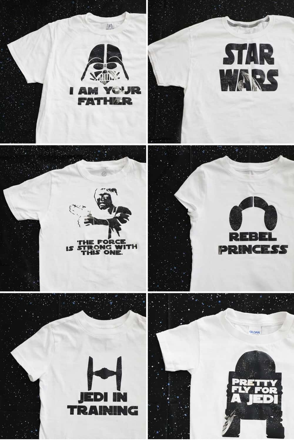 collage of six different white star wars shirts against a black background