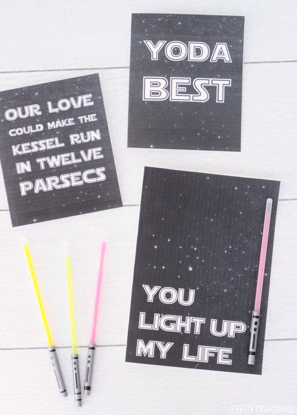 Star Wars Valentines cards 'You Light up my Life' with glow stick light saber, 'Yoda Best' and 'Our love could make the kessel run in twelve parsecs' black and white printable valentines.