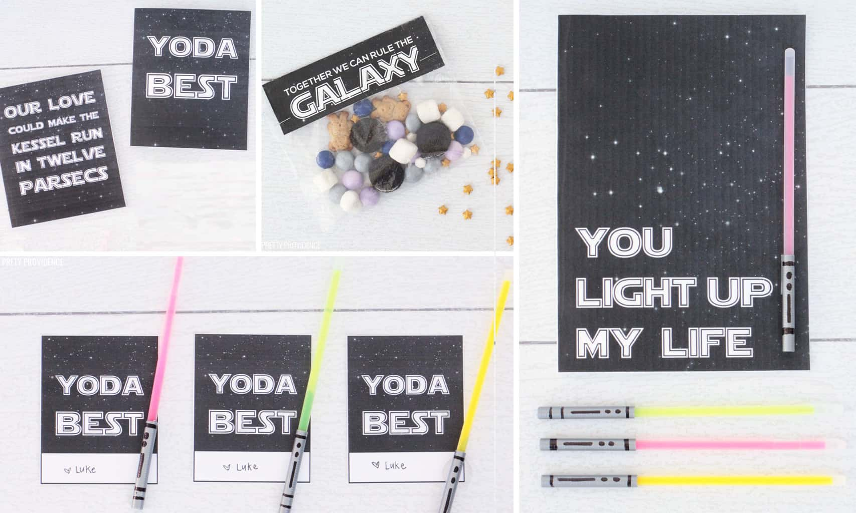 Collection of Star Wars valentines printables - black with white stars and phrases like 'you light up my life' 'yoda best' 'together we can rule the galaxy' and 'our love could make the kessel run in twelve parsecs'