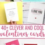 Clever and fun Valentines day card printables collage for pinterest.
