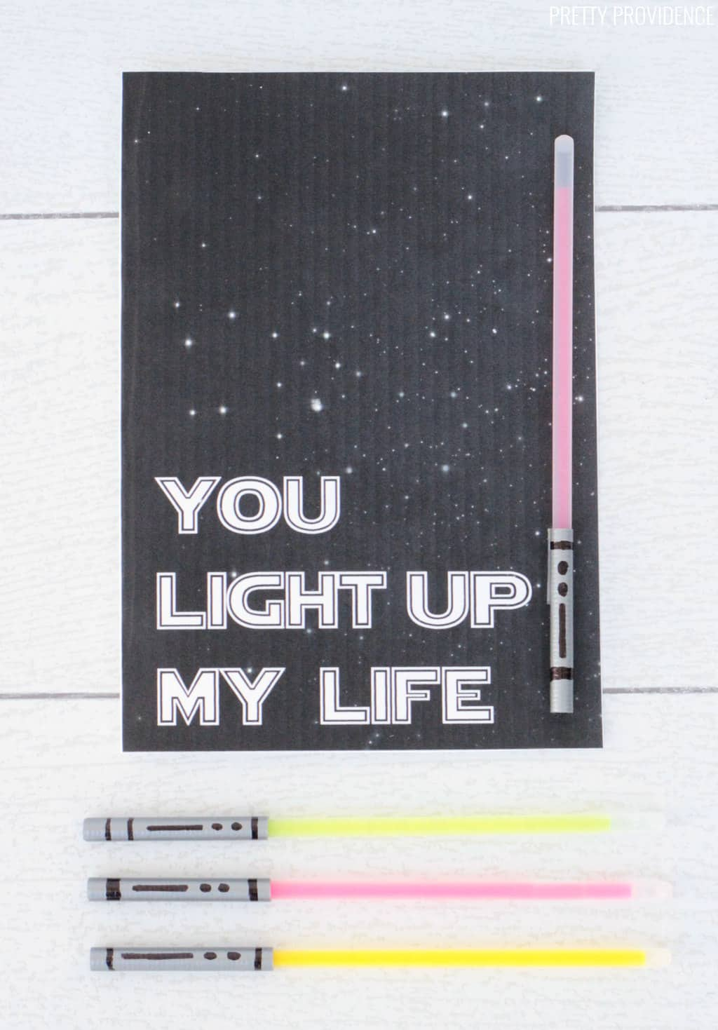 'You light up my life' star wars valentines card for him, with glow stick light saber attached.