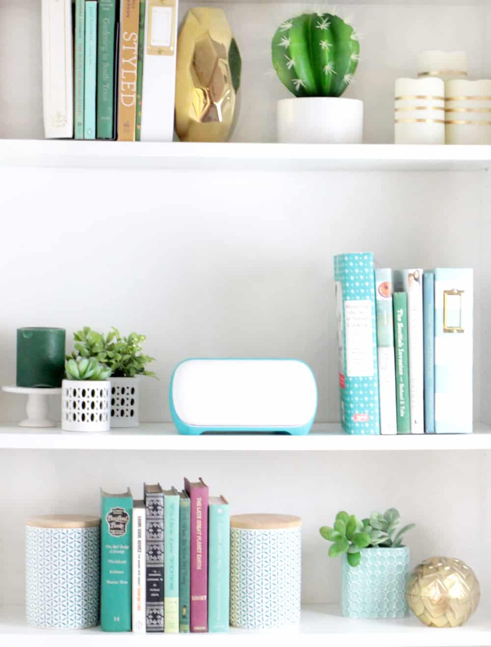 cute styled bookshelf with plants, books, and cricut joy
