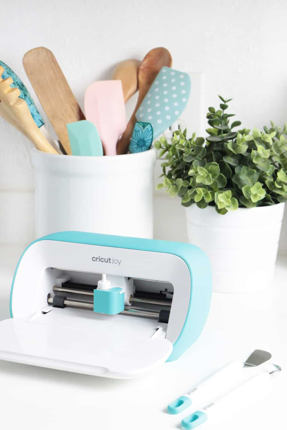 Cricut Joy on kitchen counter in front of plant and utensil holder