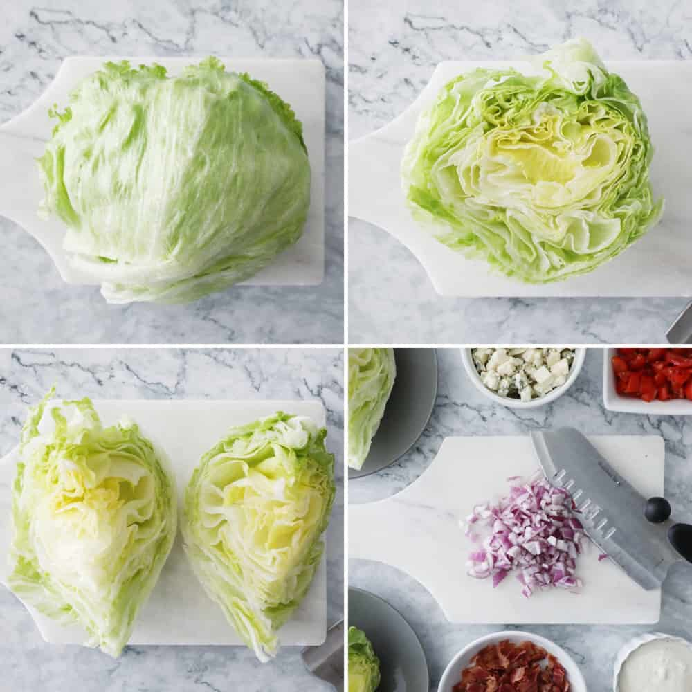process photos showing how to clean and wedge iceburg lettuce, and toppings for wedge salad