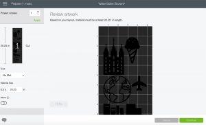 screenshot of design space software preparing to cut stickers