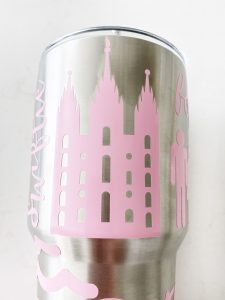 pink temple sticker on stainless steel tumbler