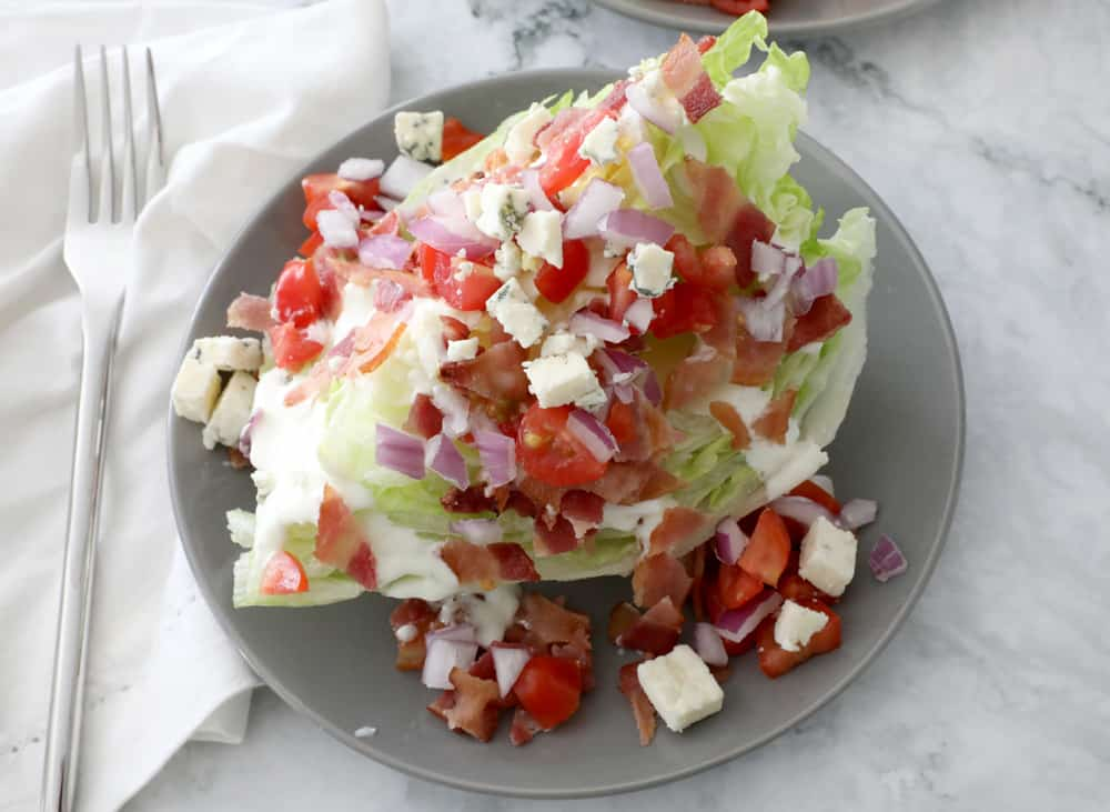 Close up of wedge salad