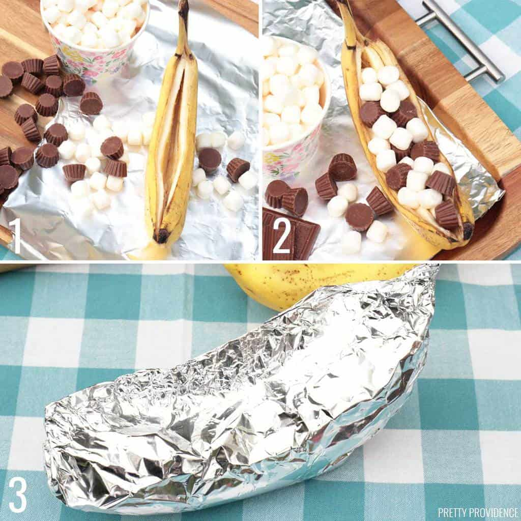 Campfire banana boats recipe step-by-step instructions.
