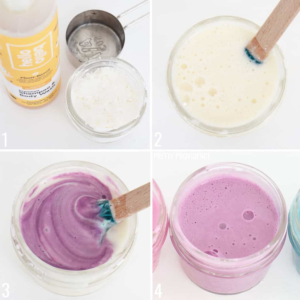 Step by step directions to make DIY bath paint for kids.