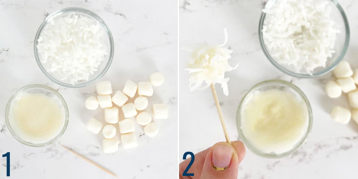 Coconut, frosting and marshmallows with a toothpick making bunny tails for Easter cookies
