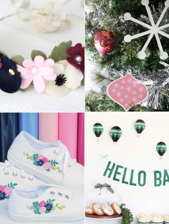 Cricut project ideas collage- felt, chipboard, shoes and card stock projects!