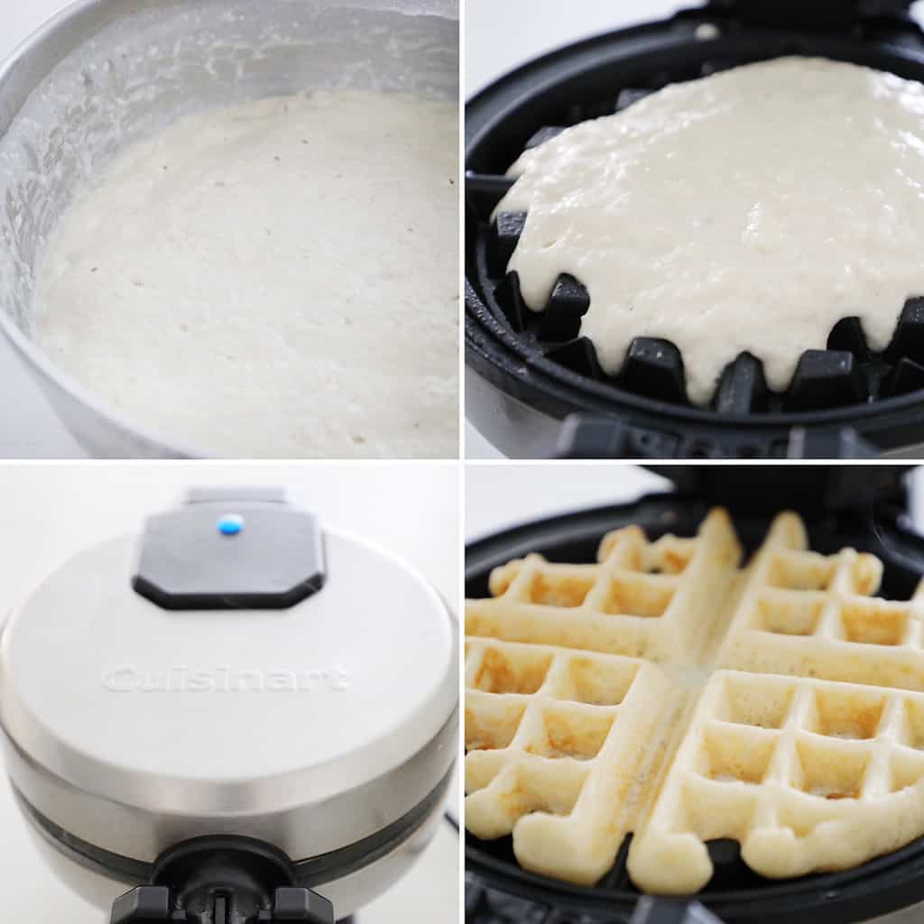 process shots for cooking yeast waffles