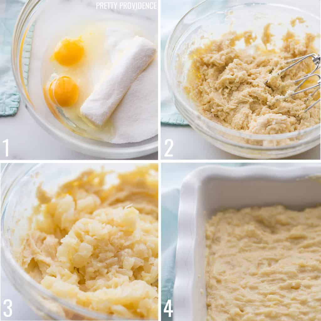 Pineapple Bars step by step directions of how to make the batter.