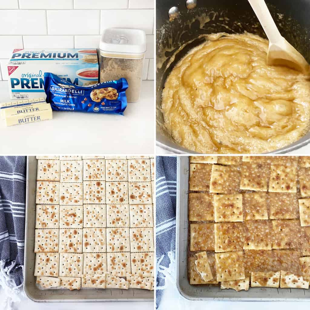 four images in a collage showing the preparation for saltine toffee