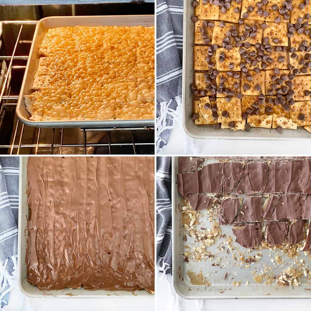 the second half of the process shots for saltine cracker toffee