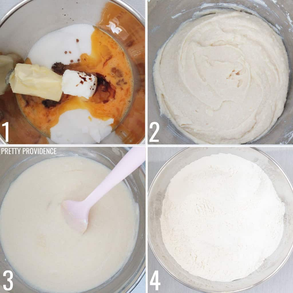 Collage of steps to make Sugar cookie dough.