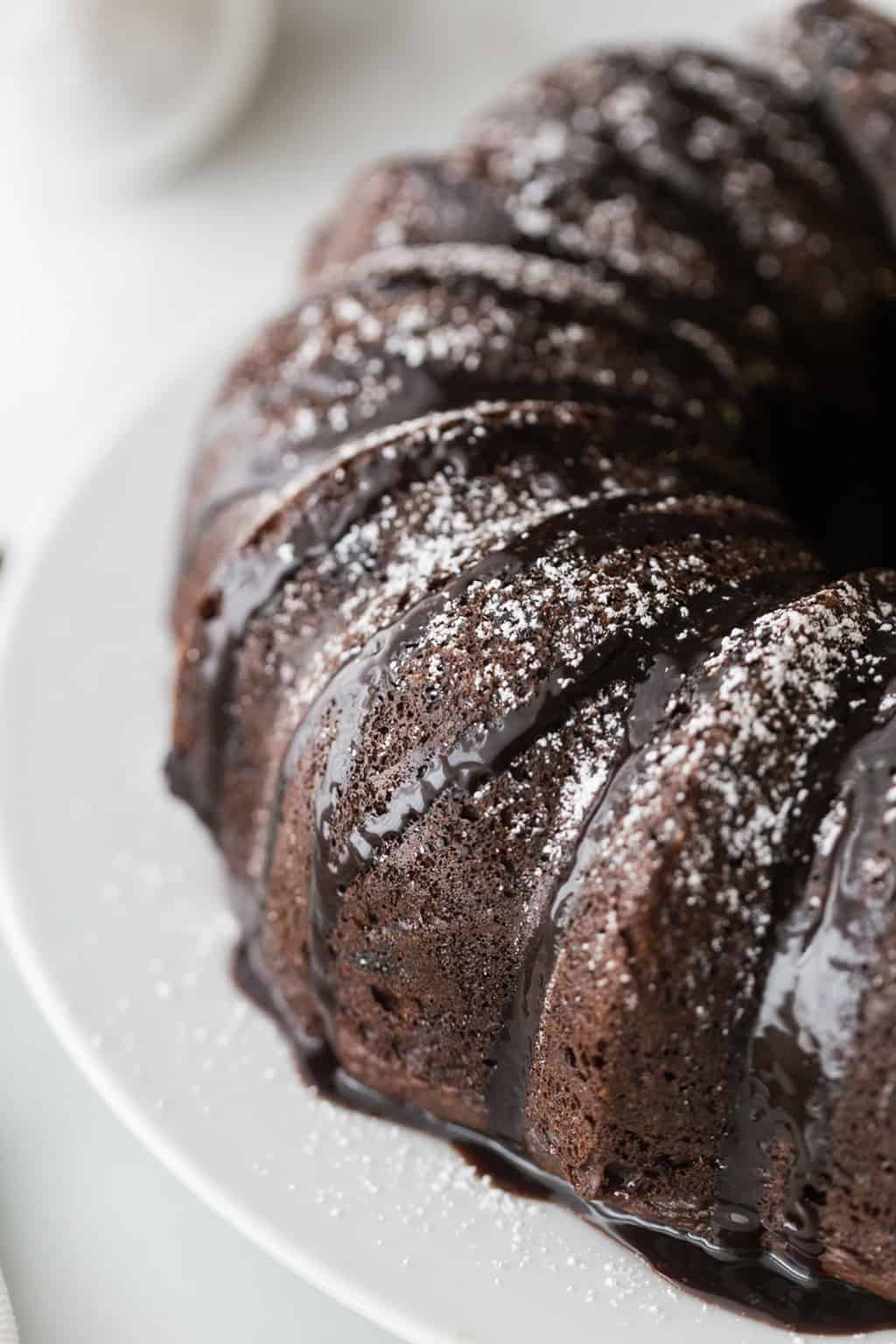 chocolate bundt cake on a white cake plate with powdered sugar sprinkled over the top