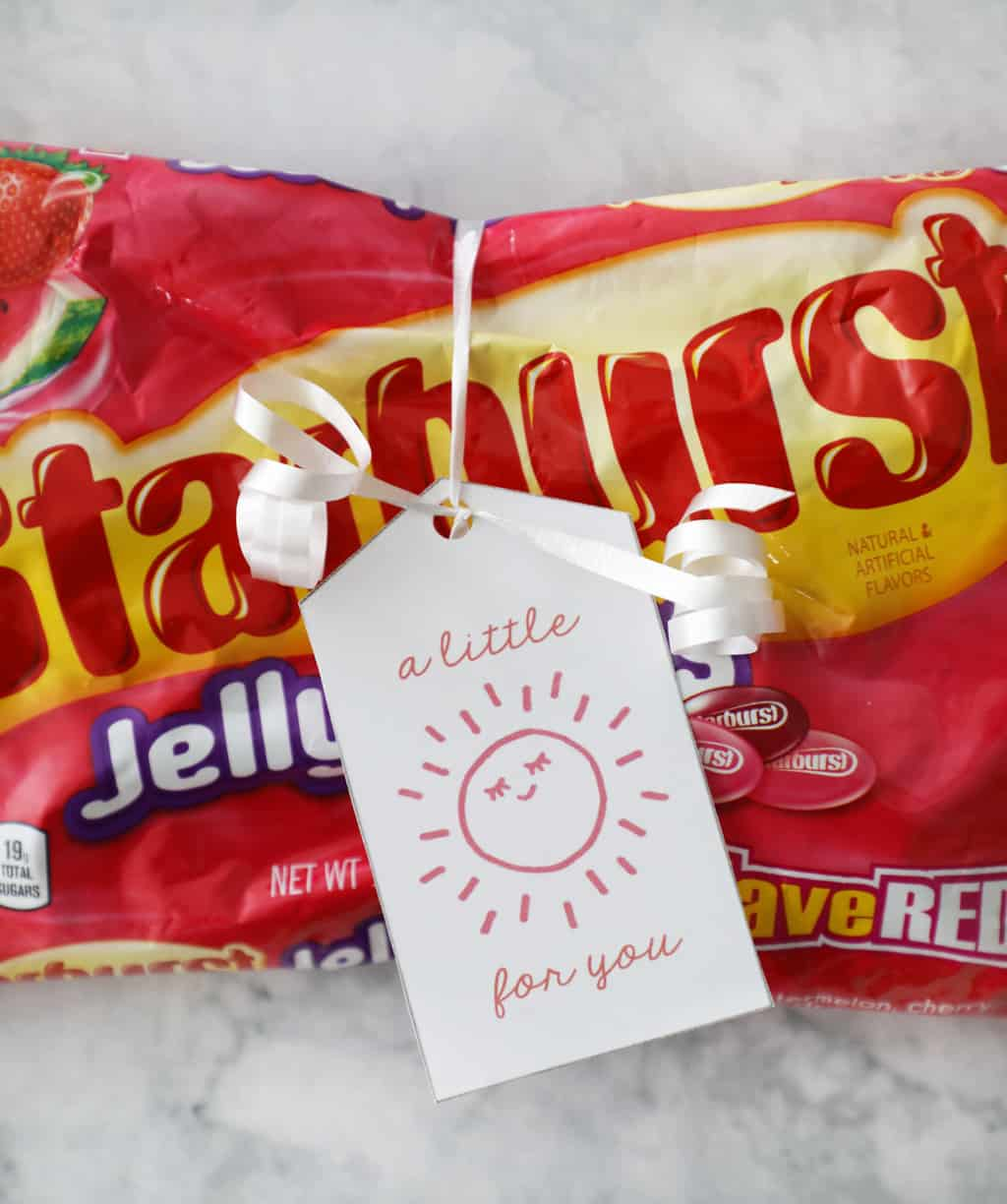 "starburst jelly beans with a tag that says ""a little sunshine for you"""