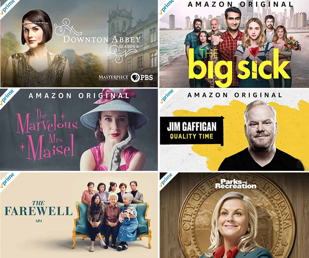 Amazon Prime TV shows and movies - collage of six suggestions