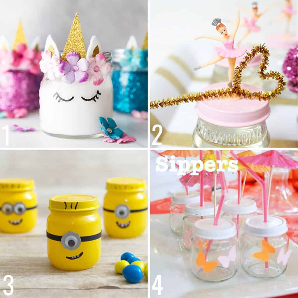 baby food jar crafts collage of ideas, unicorn slime, bubbles, minion candy jars, sippy cups for kids