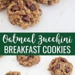 Oatmeal zucchini breakfast cookies on a white marble surface, two photos pinterest collage