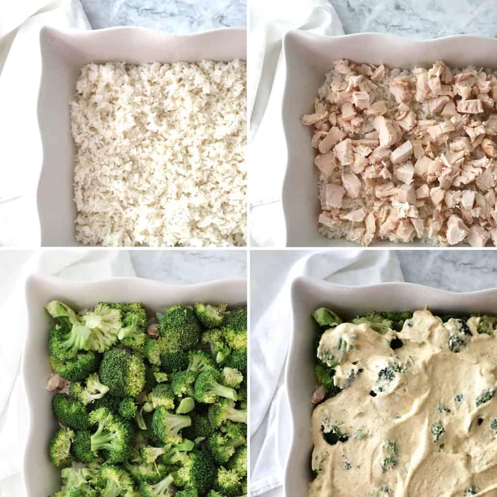 process shots of making a chicken divan casserole
