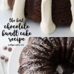 two images of chocolate bundt cake. One with cream cheese frosting one with chocolate drizzle