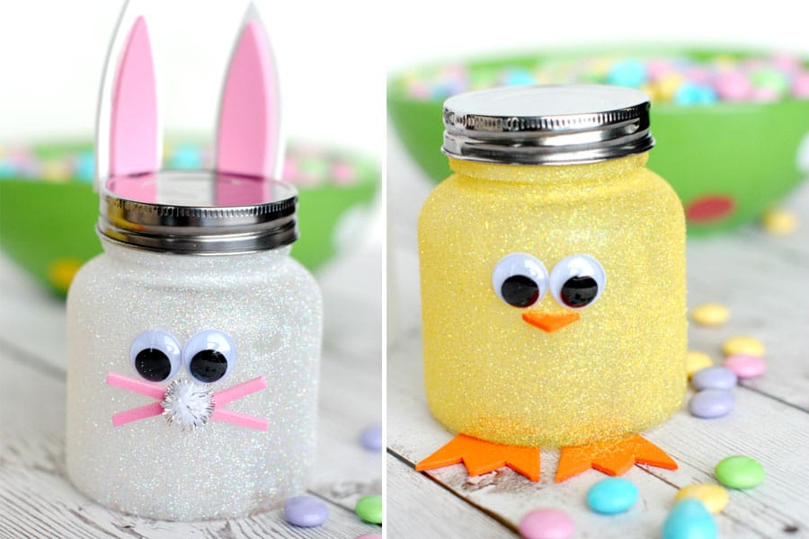 Easter Jars decorated to look like bunnies and chicks from CrazyLittleProjects.com