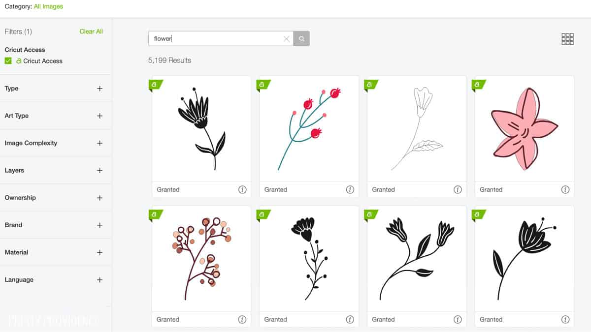 Cricut Access library with flower search results
