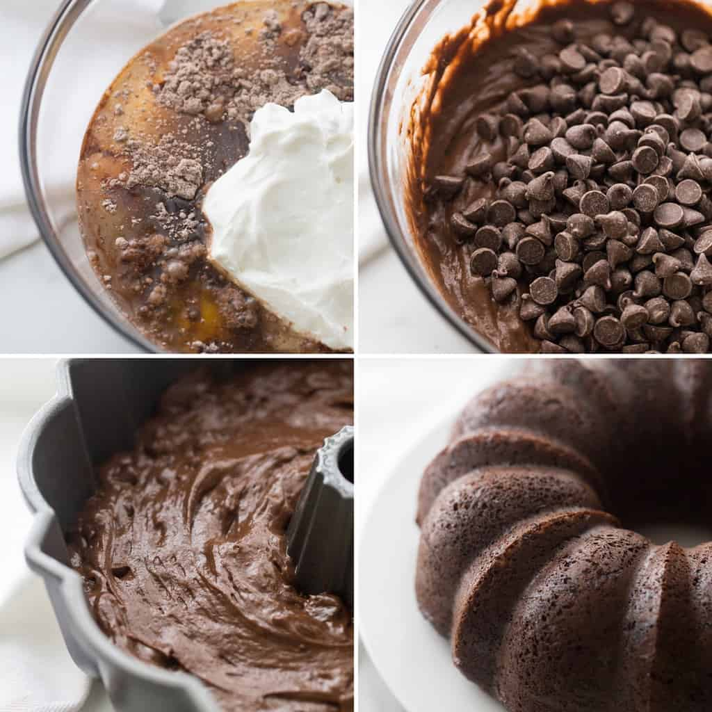 four image collage showing the steps to making a death by chocolate cake