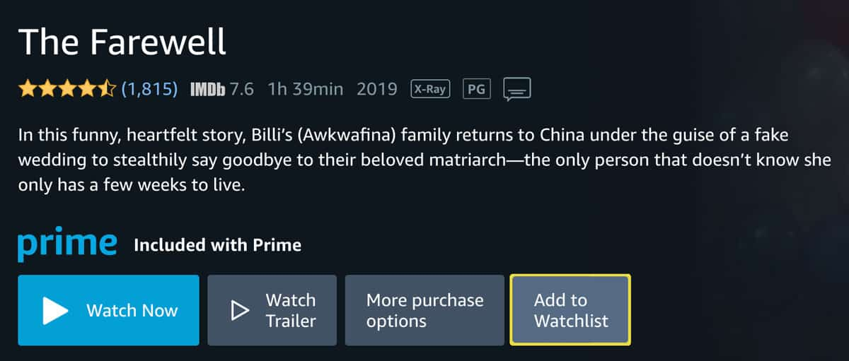 "The Farewell menu screen in Prime Video with ""Add to Watchlist"" button highlighted"