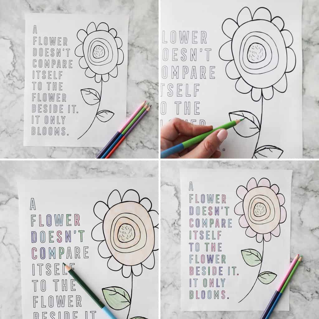 a collage showing a blank coloring page, then it gradually being fully colored