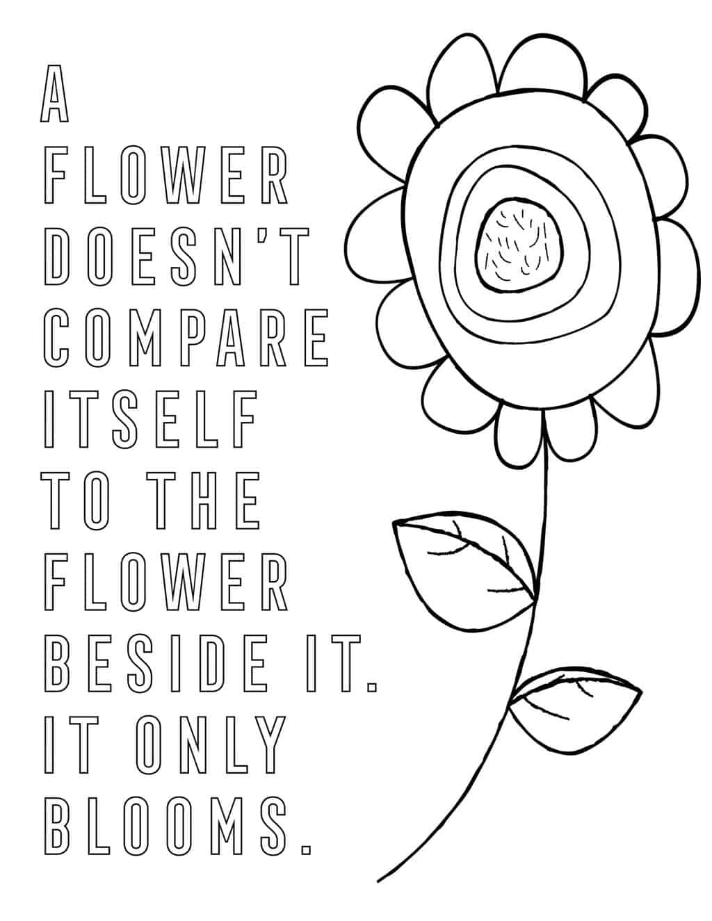 a coloring page of a large flower with a quote next to it