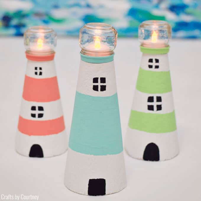 Foam lighthouses with baby food jars and tea lights