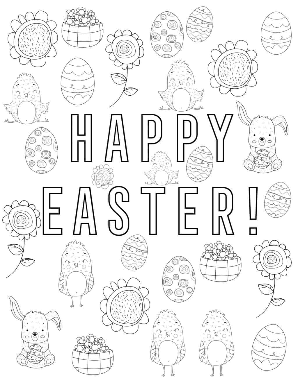 happy easter coloring page with blank easter graphics for kids to color